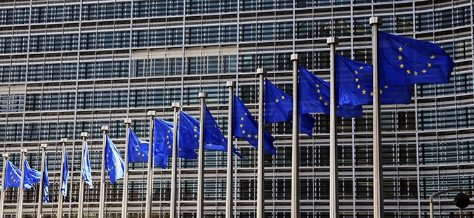 epa06040850 (FILE) - A file photograph dated on 14 June 2012 (re-issued on 21 June 2017) shows European Union flags waving outside the EU Commission headquarters in Brussels, Belgium. The Jury of the 2017 Princess of Asturias Award for Concord, announced the European Union (EU) as the winner of the 2017 Princess of Asturias Award for Concord during a ceremony held in Oviedo, province of Asturias, northern Spain, on 21 June 2017.  EPA/OLIVIER HOSLET
