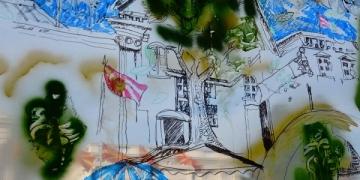 """""""Одмазда на дрвото"""" - слика на транспарентна површина, насликана на Работилницата на ЦИВИЛ """"Боите на слободата"""", за време на Кампот на слободата, јуни 2015 година. Автор: Мирослав Стојановиќ - Шуки, фотографија: ЦИВИЛ"""