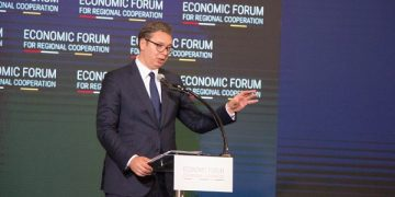 Претседателот на Србија на Економскиот форум во Скопје, 29 јули, 2021 фотографија: Огнен Бошњаковски