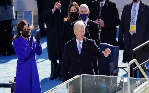 WASHINGTON, DC - JANUARY 20:  U.S. President Joe Biden waves after delivering his inaugural address during the inauguration ceremony on the West Front of the U.S. Capitol on January 20, 2021 in Washington, DC.  During today's inauguration ceremony Joe Biden becomes the 46th president of the United States. (Photo by Kevin Dietsch-Pool/Getty Images)