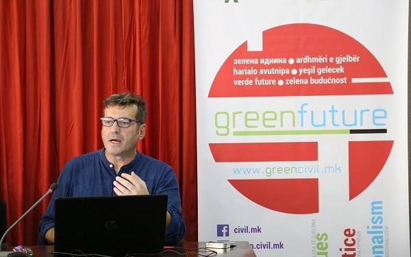 """Џабир Дерала, ЦИВИЛ говори на настанот """"Зелена иднина"""" во Штип, 5 септември 2019. Фото: Г. Наумовски/ЦИВИЛ"""