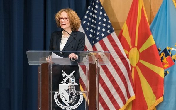 On March 5, 2019, the Minister of Defence of North Macedonia Mrs. Radmila Shekerinska visited the National Defense University in Washington, DC. She gave a talk in Lincoln Hall as part of the College of International Security Affairs' lecture series.