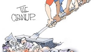 Signe cartoon TOON01 The Cleanup