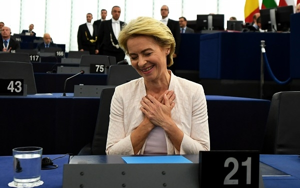 epa07720941 Ursula von der Leyen and nominated President of the European Commission reacts after a vote at the European Parliament in Strasbourg, France, 16 July 2019. European Parliament voted in favor of Ursula von der Leyen as the new President of the European Commission.  EPA-EFE/PATRICK SEEGER