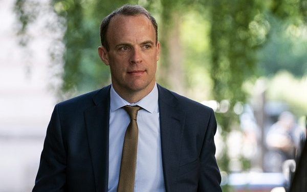 epa07747742 Britain's Foreign Secretary Dominic Raab arrives in Downing Street in Central London, Britain, 29 July 2019. Raab attends a meeting of ministers on a possible 'no deal Brexit' by 31 October.  EPA-EFE/WILL OLIVER
