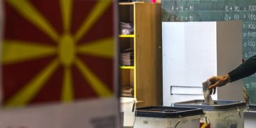 epa06267071 A man votes at a polling station in Skopje, The Former Yugoslav Republic of Macedonia, 15 October 2017. Citizens of the Former Yugoslav Republic of Macedonia vote for the local municipal elections.  EPA-EFE/GEORGI LICOVSKI