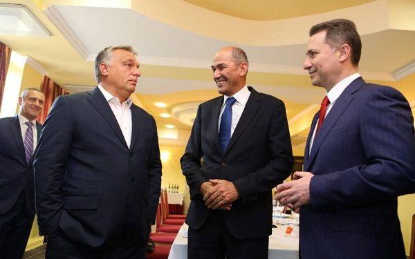 Виктор Орбан, Јанез Јанша и Никола Груевски, септември 2017 година. Во втор план е Никола Тодоров. Извор: ФБ профил на Никола Груевски