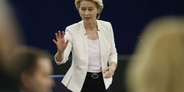 Ursula von der Leyen, the candidate to succeed Jean-Claude Juncker as head of the EU executive, answers parliament members during a debate at the European Parliament in Strasbourg, eastern France, Tuesday July 16, 2019. Ursula von der Leyen is seeking to woo enough legislators at the European Parliament to secure the job of European Commission President in a secret vote late Tuesday. (AP Photo/Jean-Francois Badias)