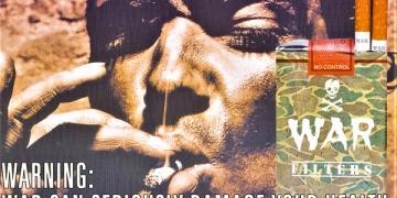 """""""Војната може сериозно да му наштети на вашето здравје"""" - антивоен плакат и флаер на ЦИВИЛ, дел од кампањата за мир и помирување, што се спроведуваше од првиот ден на оружениот конфликт во 2001 година (Архива на ЦИВИЛ)"""