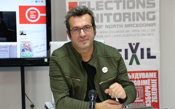 Џабир Дерала, ЦИВИЛ, на прес конференцијата за изборниот мониторинг, 13 октомври 2021 (фото: Д. Муратов/ЦИВИЛ)